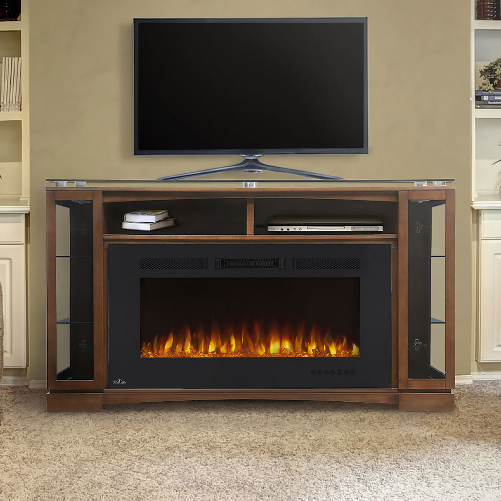 Shelton Electric Fireplace Media Console In Burnished Walnut Nefp42 1715bw