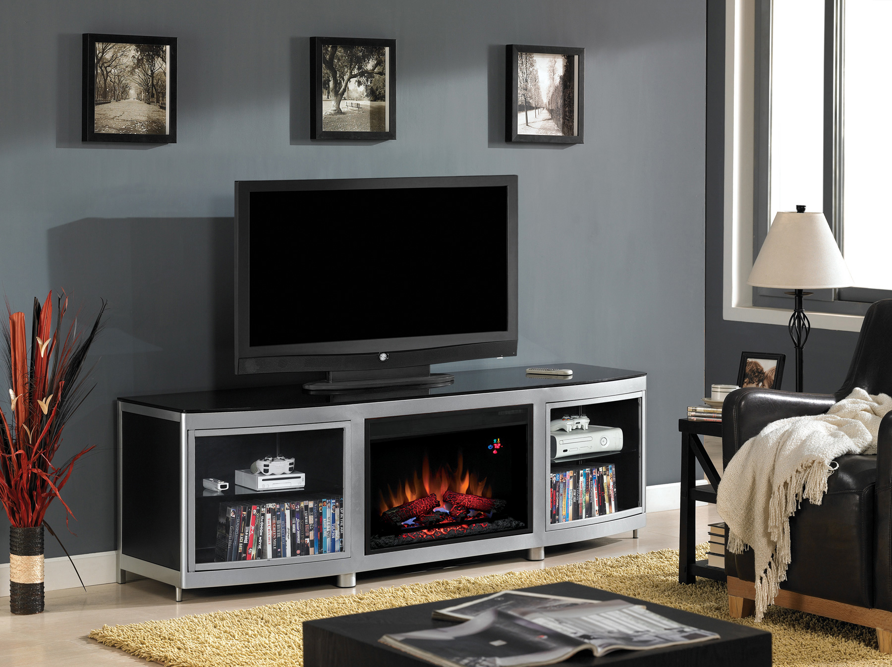 Gotham 26 Black Media Console Electric Fireplace Cabinet Mantel 26mm9313 D974