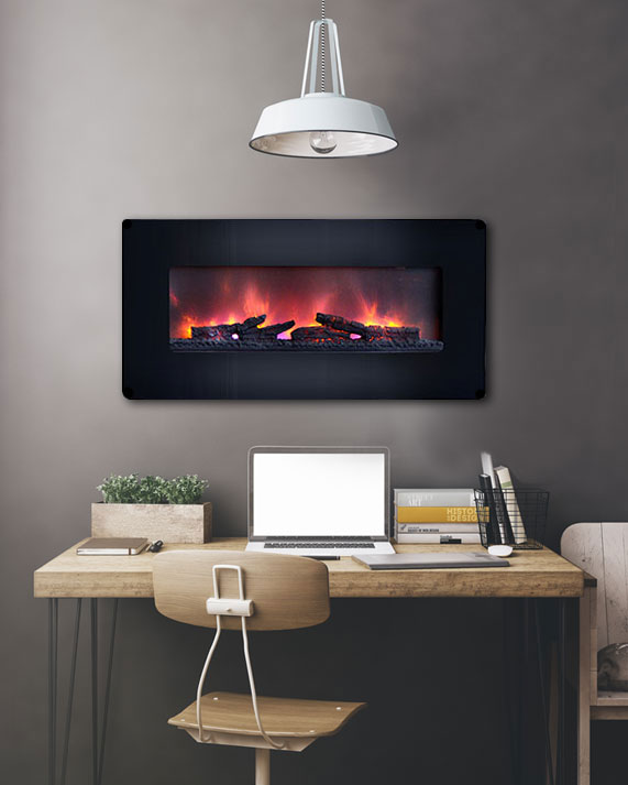 Classicflame 36 In Curved Black Wall Mount Electric