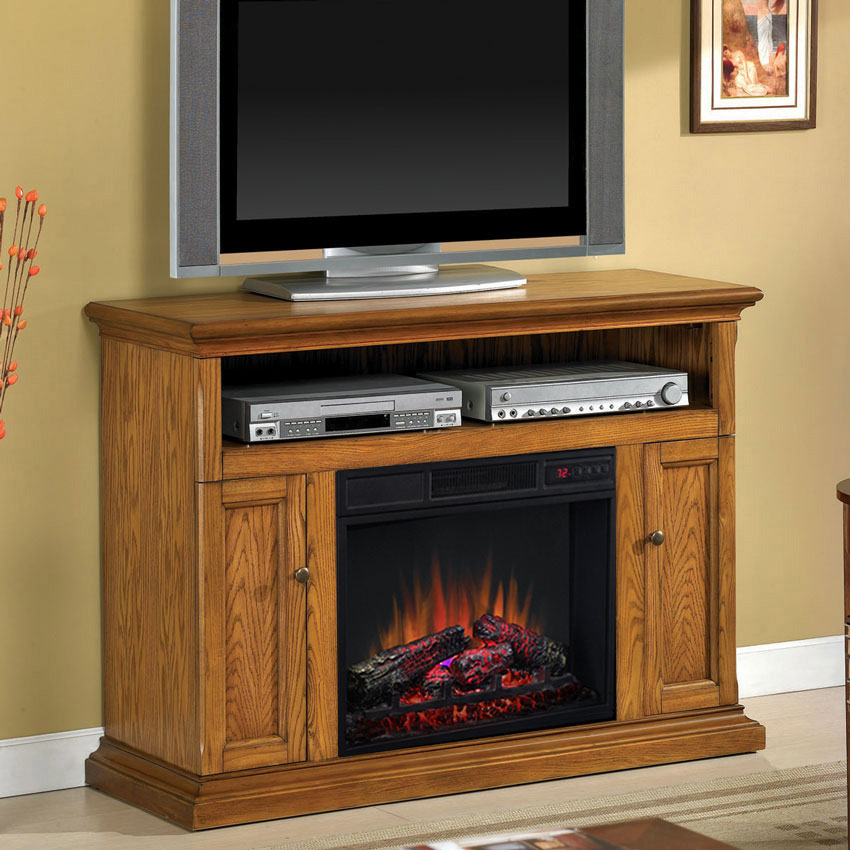 Cannes 23 Antique Oak Media Console Electric Fireplace Cabinet Mantel Package 23mm378 O103