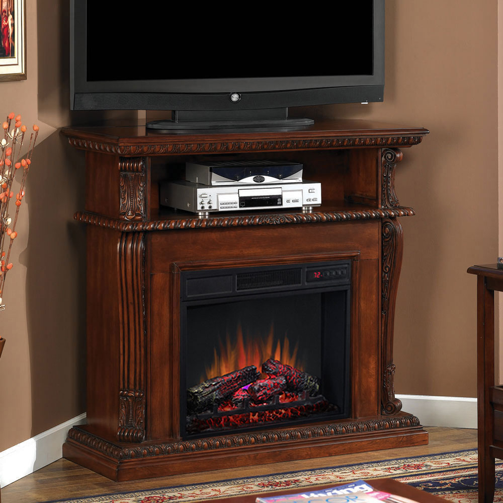 corinth 23 vintage cherry electric fireplace cabinet. Black Bedroom Furniture Sets. Home Design Ideas