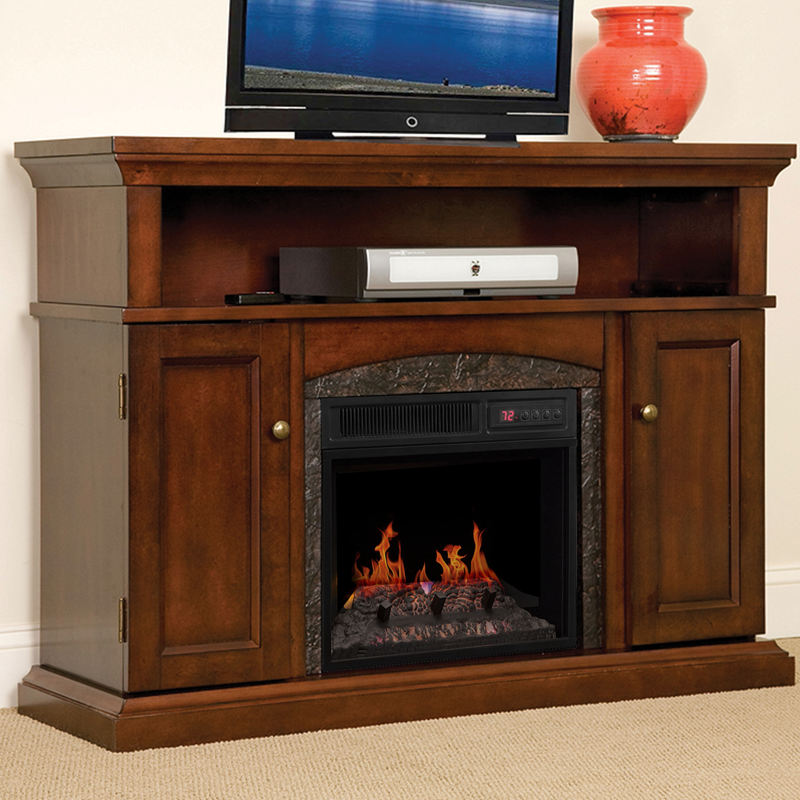 Lynwood Infrared Electric Fireplace Media Cabinet Vintage Cherry 18mm4105 C233
