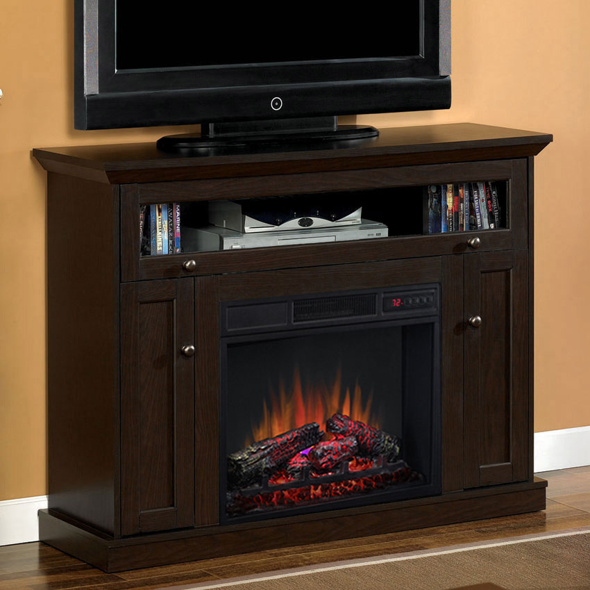 electric fireplace tv stand 23 quot oak espresso media console electric fireplace 28468