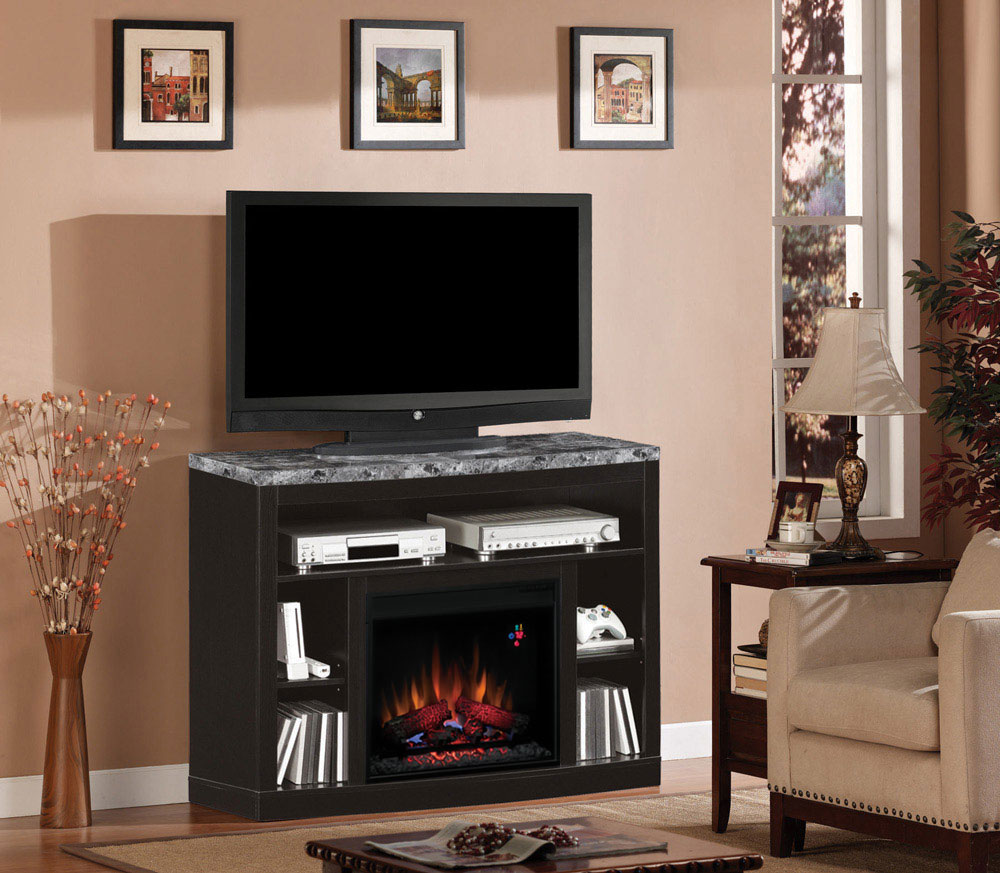 Adams Electric Fireplace Media Console In Coffee Black