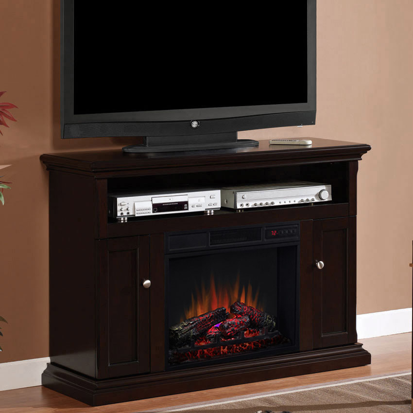 Cannes Infrared Electric Fireplace Media Cabinet In Espresso 23mm378 E451