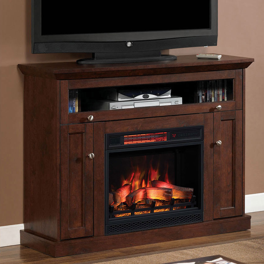 "Fireplace Cabinets: Windsor Cabinet Antique Cherry & 23"" Infrared Firebox"