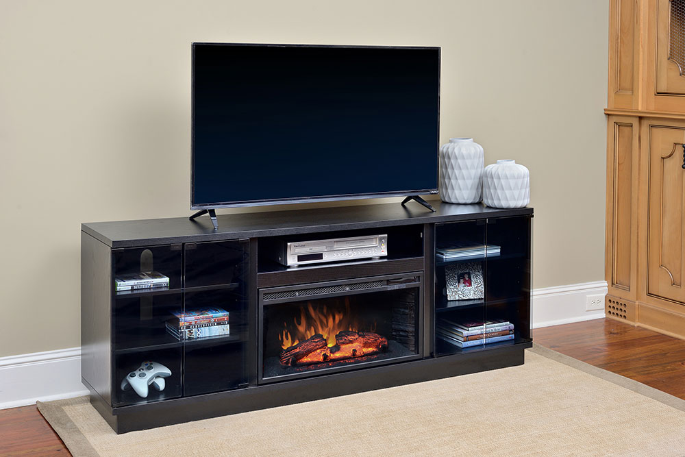Douglas infrared electric fireplace entertainment center in black cs 28mm blk - Contemporary electric fireplaces entertainment center ...
