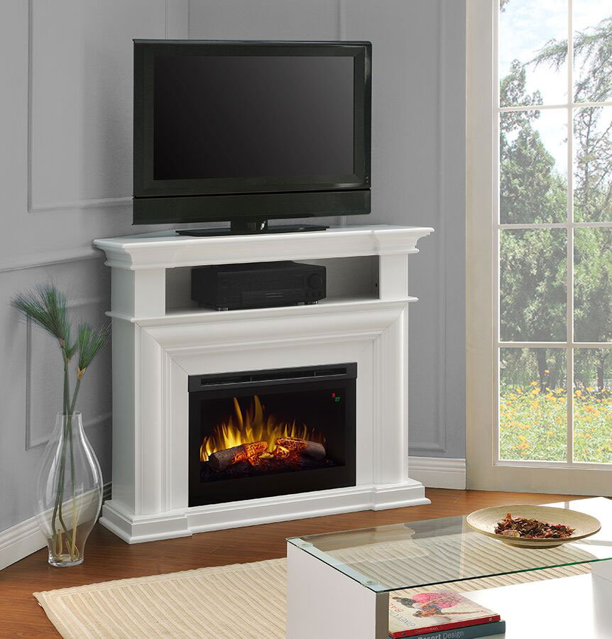 or corner electric fireplace media console in white dfp25l5 1537w