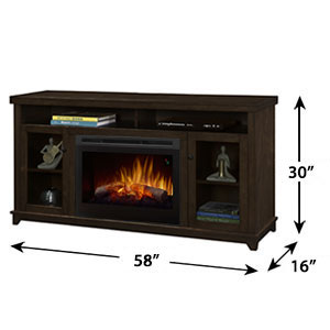 Dupont Electric Fireplace Media Console W Logs In Dark Brown Gds25l5 1491kn