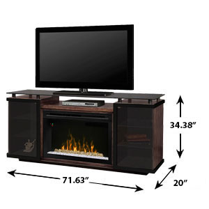 Aiden Electric Fireplace Media Console W Glass In Peppercorn Gds33g4 1582pc