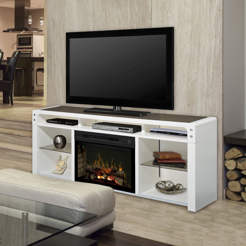 Galloway Electric Fireplace Media Console W Logs In White: white media console