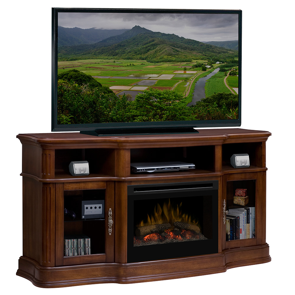 portobello walnut electric fireplace media center w logs gds25