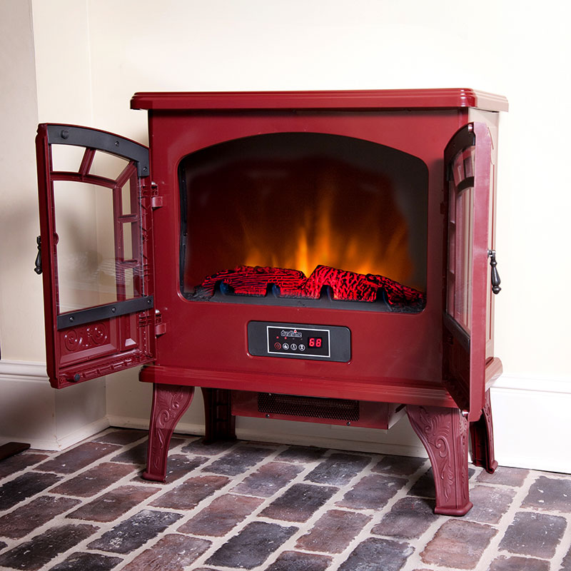 Duraflame 750 electric fireplace stove in cranberry dfs 750 14