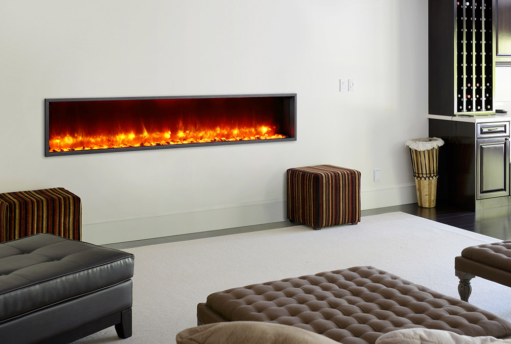 The Dynasty 79-In Built-In Electric Fireplace - DY-BT79 is a truly unique modern fireplace with dazzling flame effects & rock ember bed.
