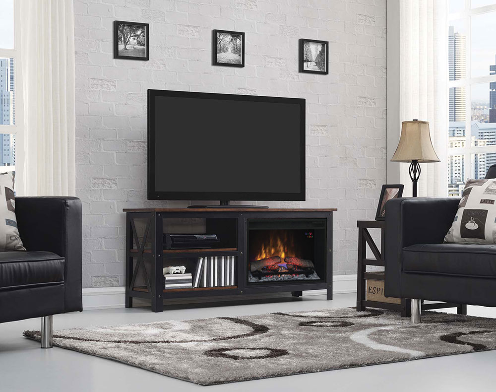 Grainger Electric Fireplace Entertainment Center In Old