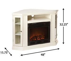 Claremont Ivory Convertible Electric Fireplace Media
