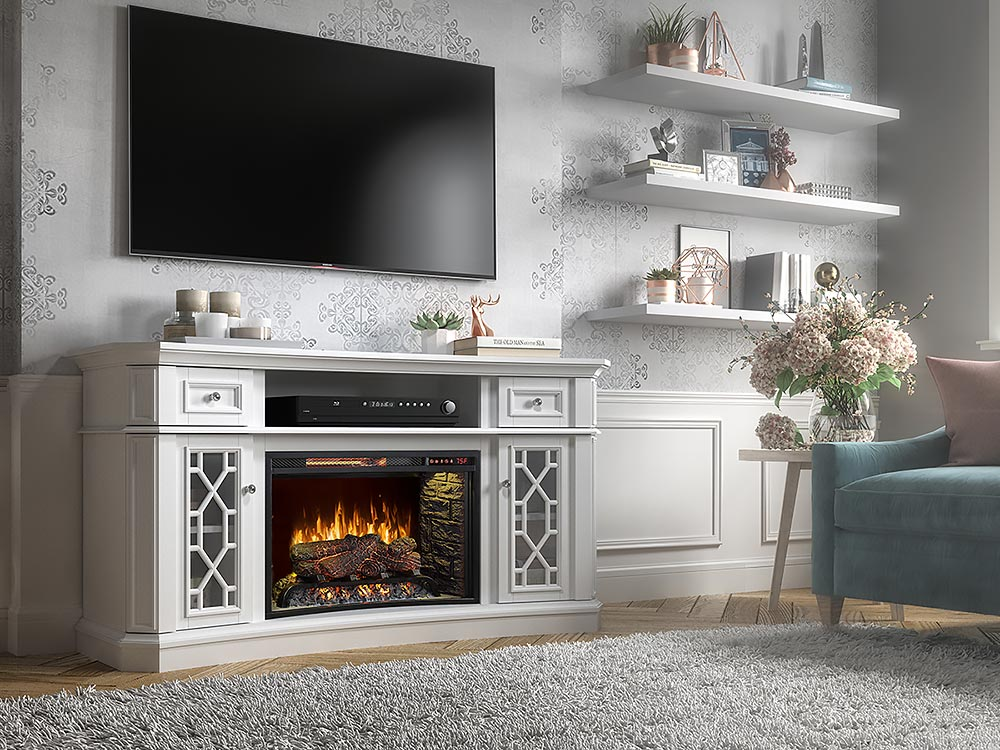 Downey Infrared Electric Fireplace Tv Stand In White 1200fm 26 201 Scott Living