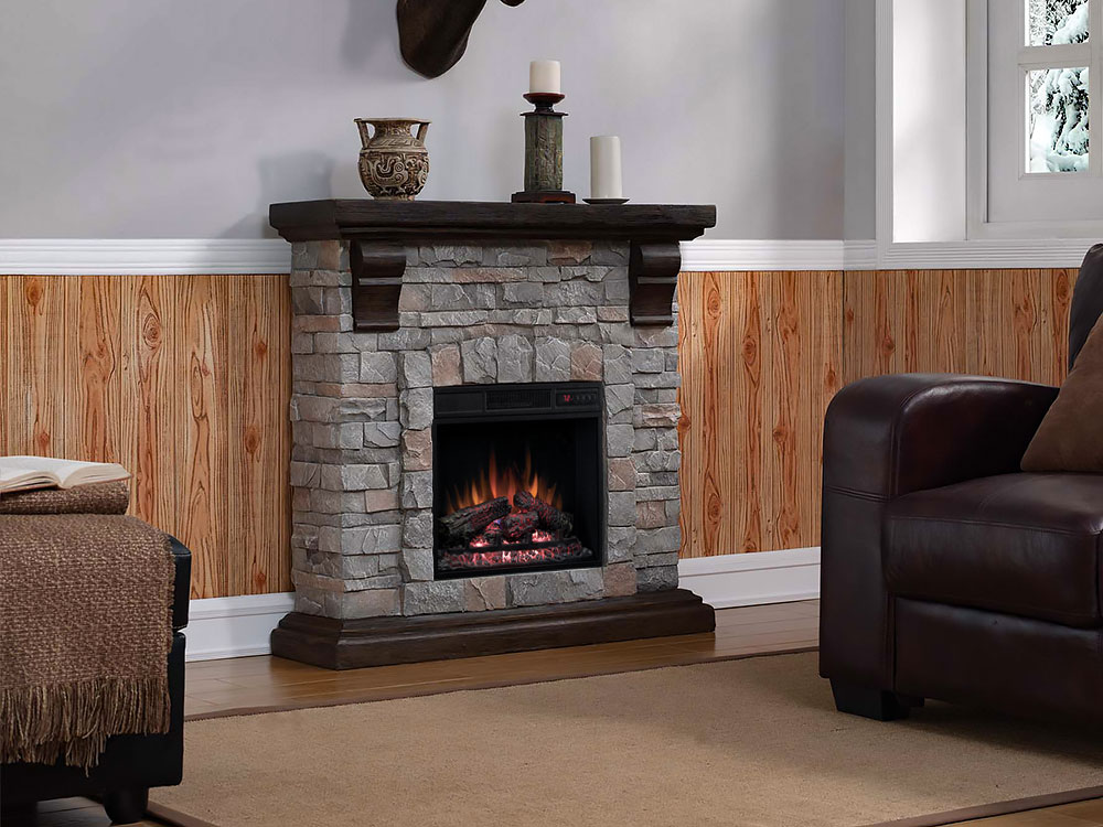 Denali Stone Fireplace with 18II332FGL Insert | 18WM10400 ...