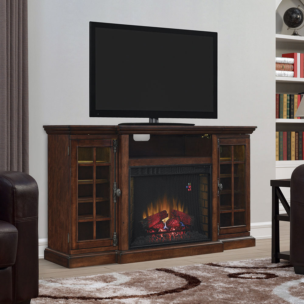 Triple Function Electric Fireplace Tv Stand In Cherry