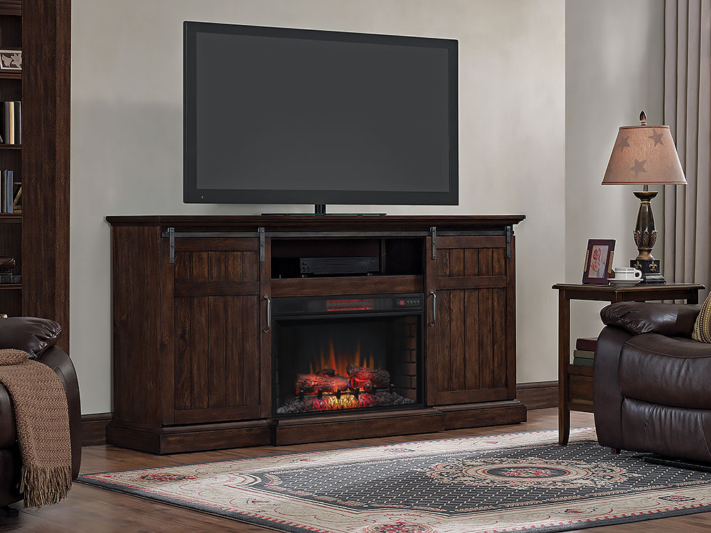 Cabaret Electric Fireplace Entertainment Center in Distressed Oak - 32MM90188-O117