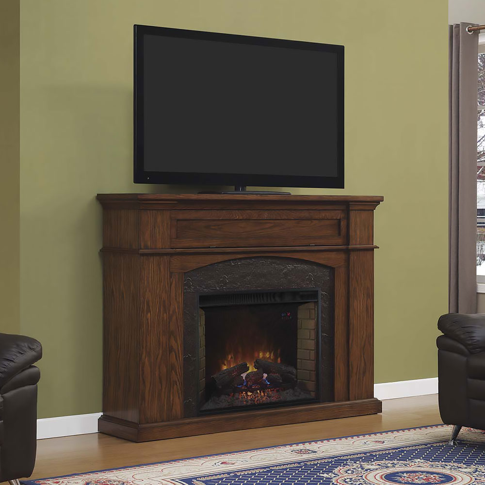 Oakwood Electric Fireplace Tv Stand In Midnight Oak