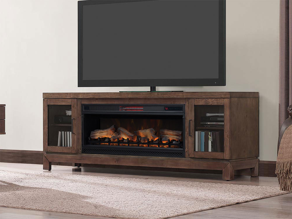 Berkeley 76 In Infrared Electric Fireplace Tv Stand In Antique Coffee 42mm6018 M343