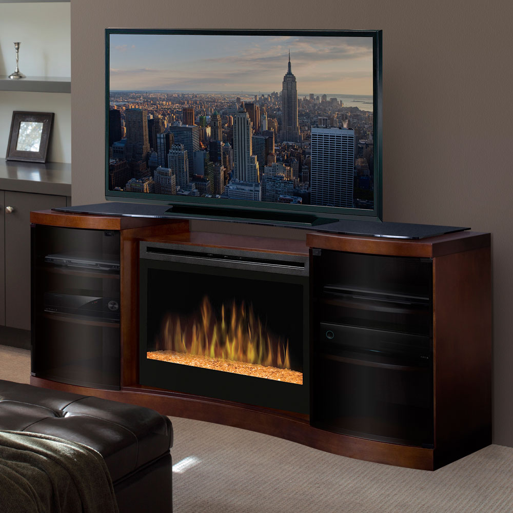 Dimplex Acton Walnut Electric Fireplace Media Console Glass Embers Gds33g 1246wal