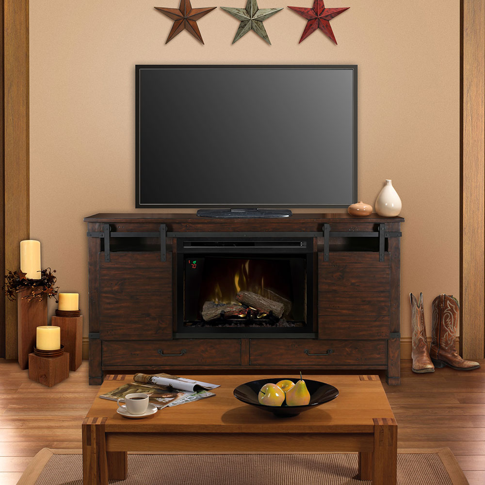 Austin electric fireplace entertainment center in harper brown - Contemporary electric fireplaces entertainment center ...