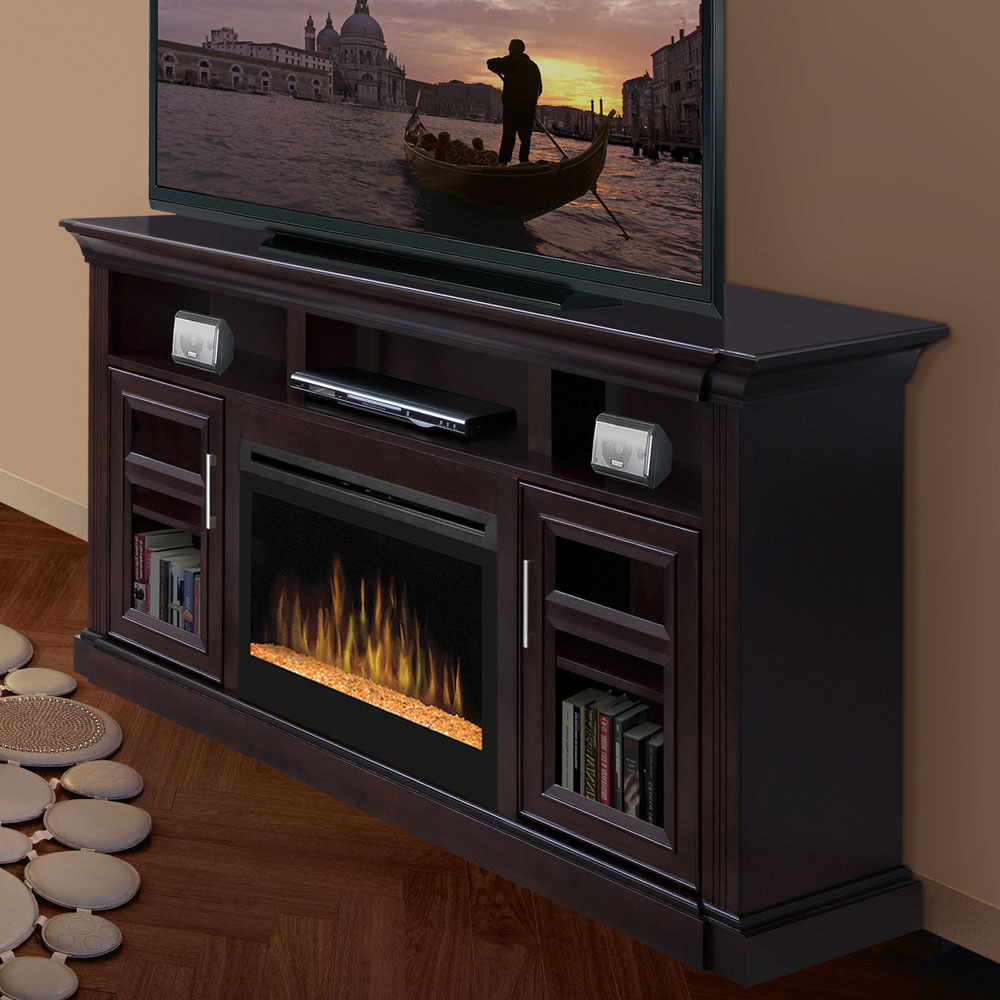 espresso electric fireplace media console glass embers gds25g 1242e