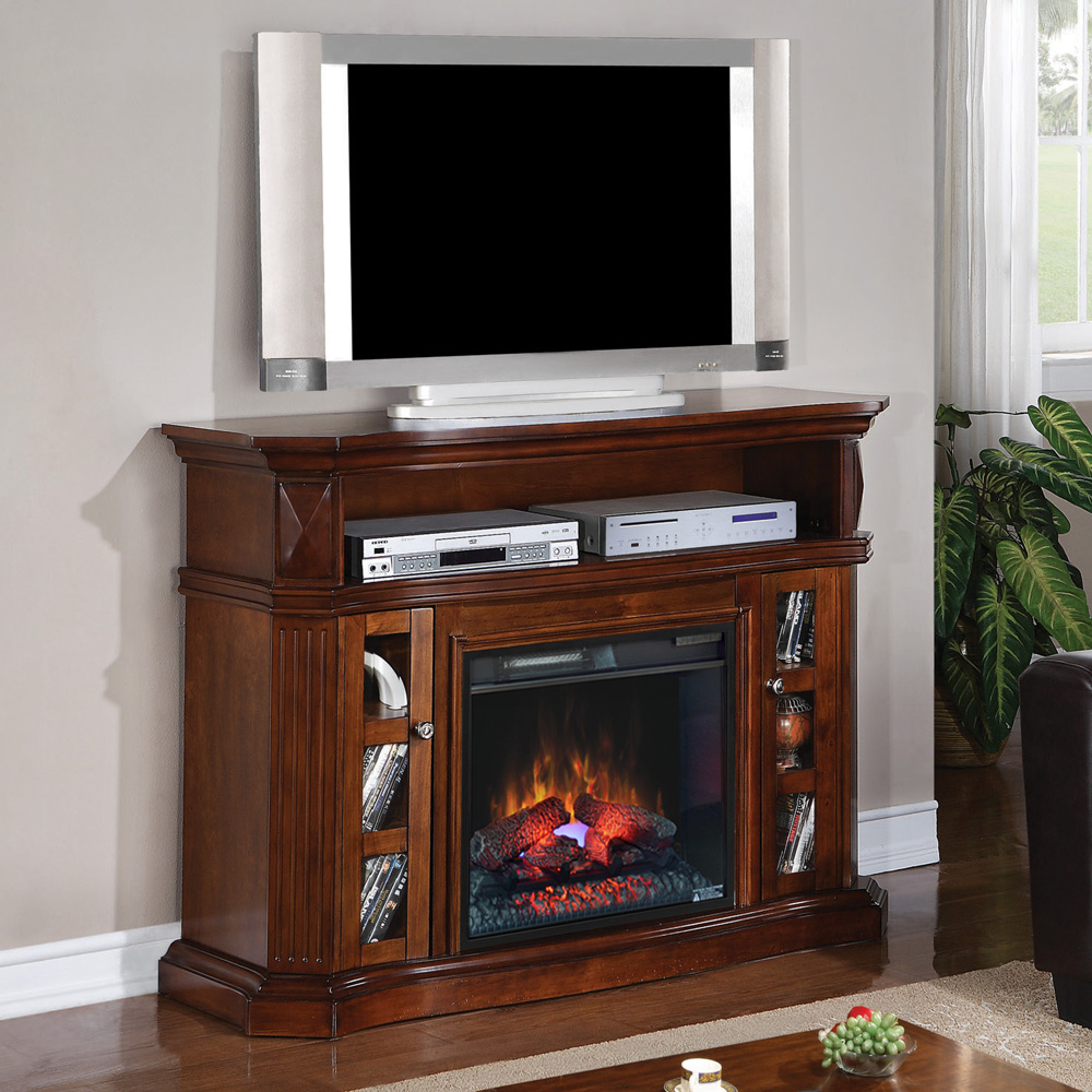 bellemeade electric fireplace media console in burnished walnut