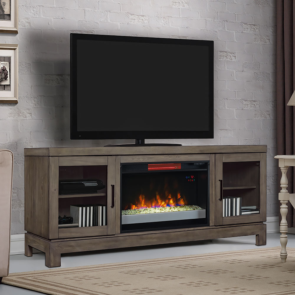 electric fireplace tv stand berkeley cabinet gray amp 26 quot infrared glass firebox 28468