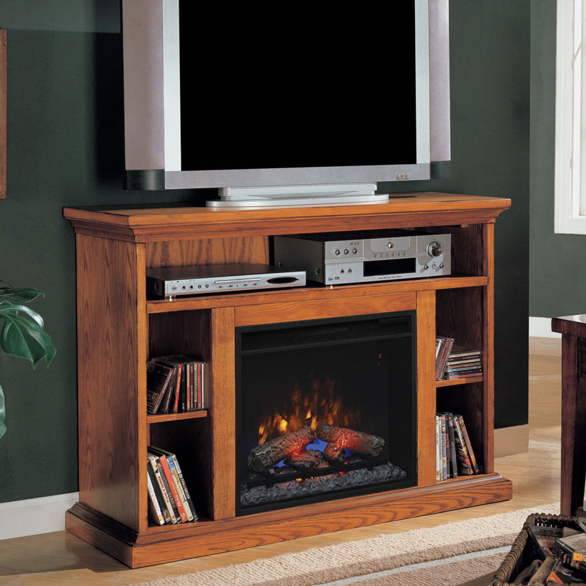 Beverly 23 Quot Premium Oak Media Console Electric Fireplace