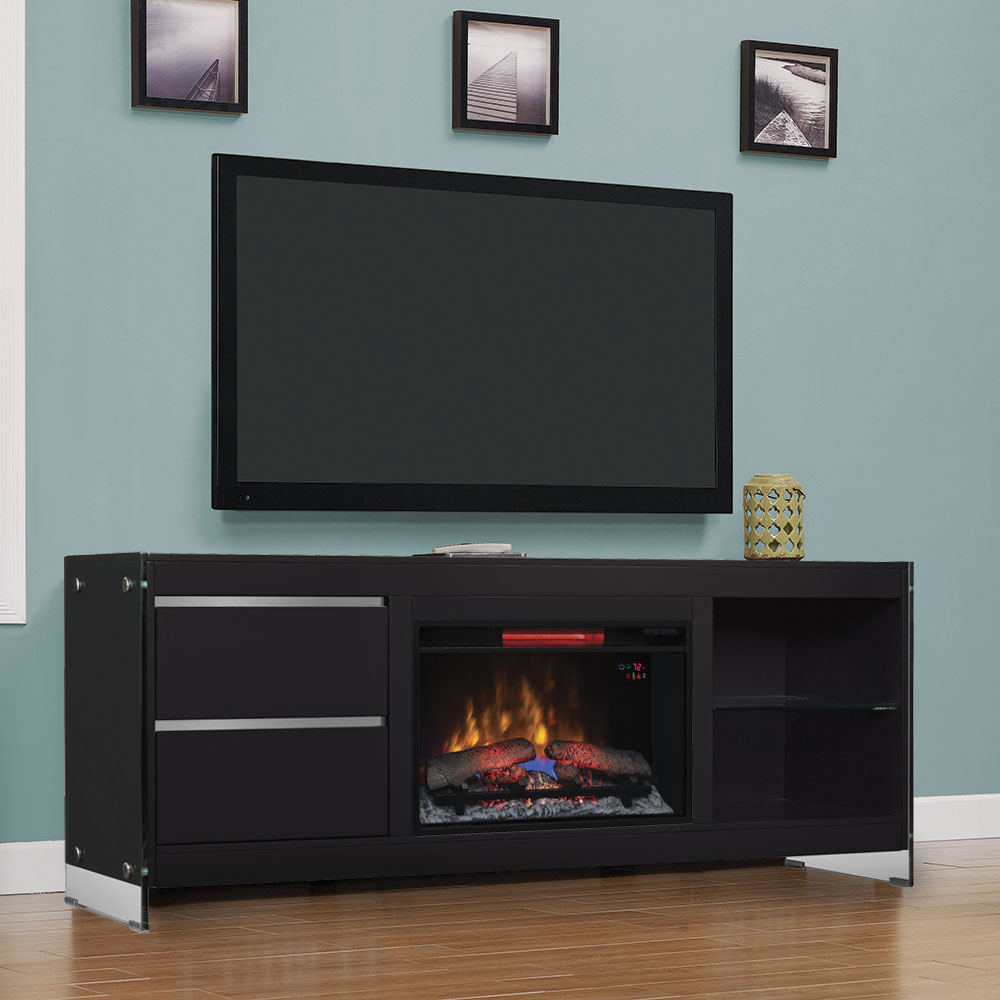 Biscayne Electric Fireplace Entertainment Center In Black