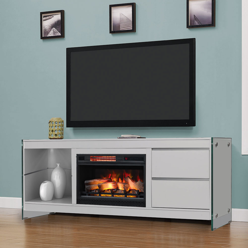 Biscayne electric fireplace entertainment center in white - Contemporary electric fireplaces entertainment center ...
