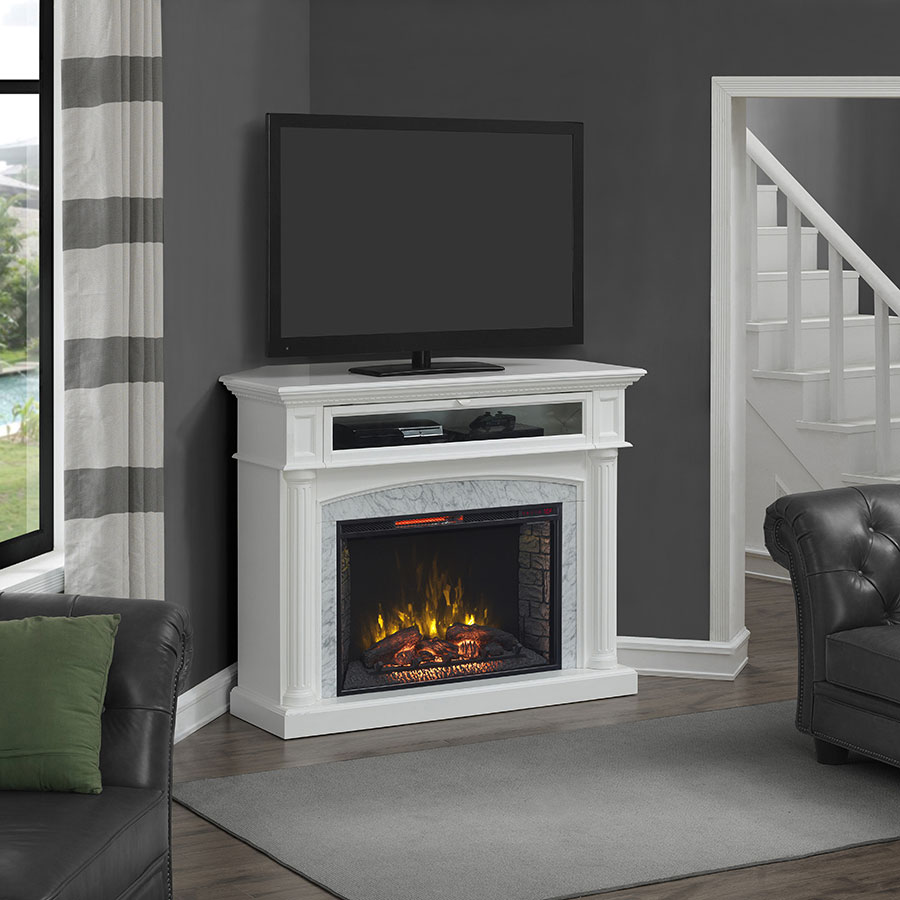 catelyn infrared electric fireplace tv stand in white 1029fm 33 201. Black Bedroom Furniture Sets. Home Design Ideas