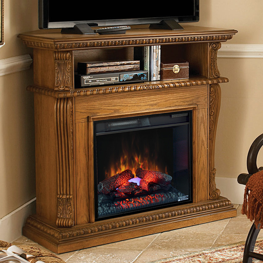 corinth wall or corner electric fireplace media center in premium oak