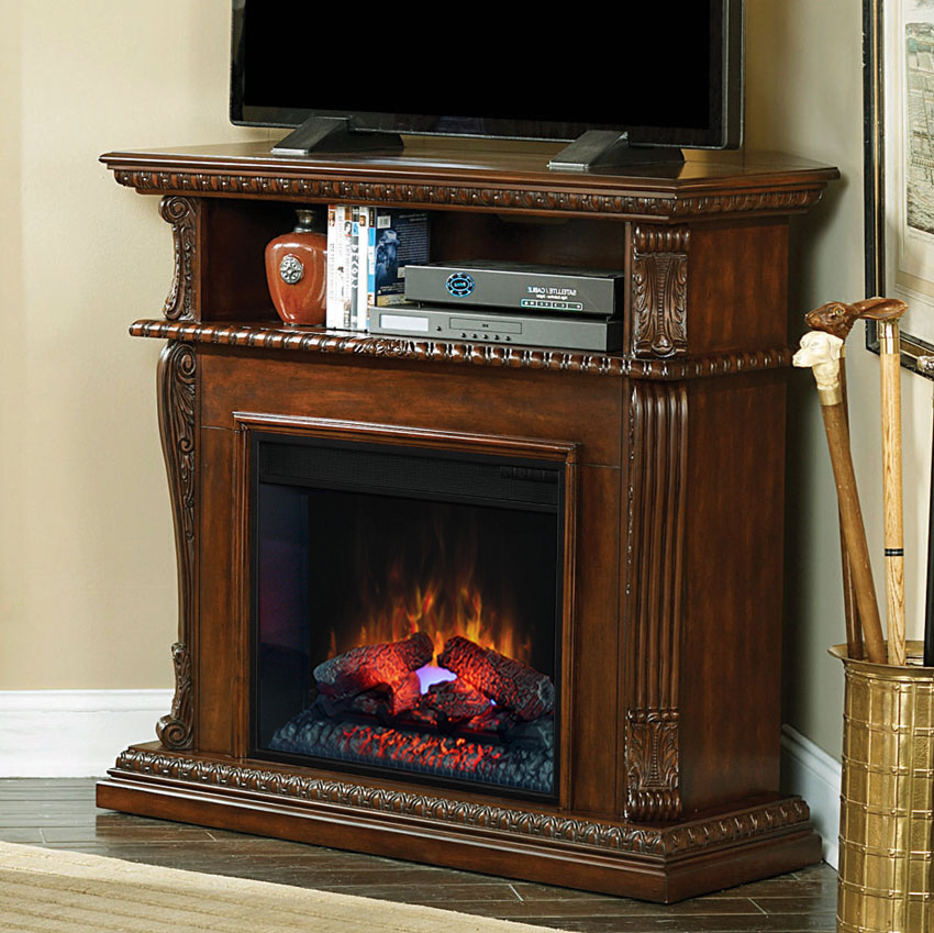 Corinth 23 Burnished Walnut Electric Fireplace Cabinet Corner Mantel Package 23de1447 W502
