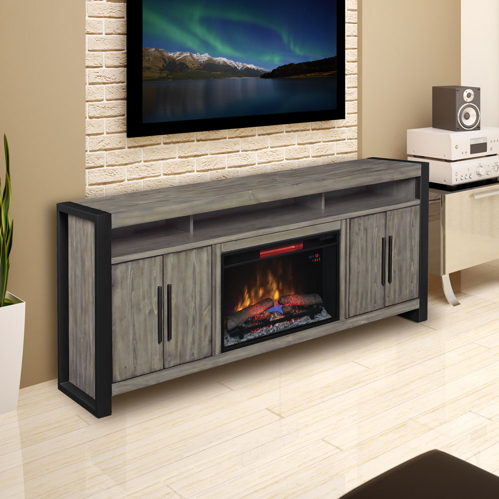 large electric fireplace entertainment center acton silver