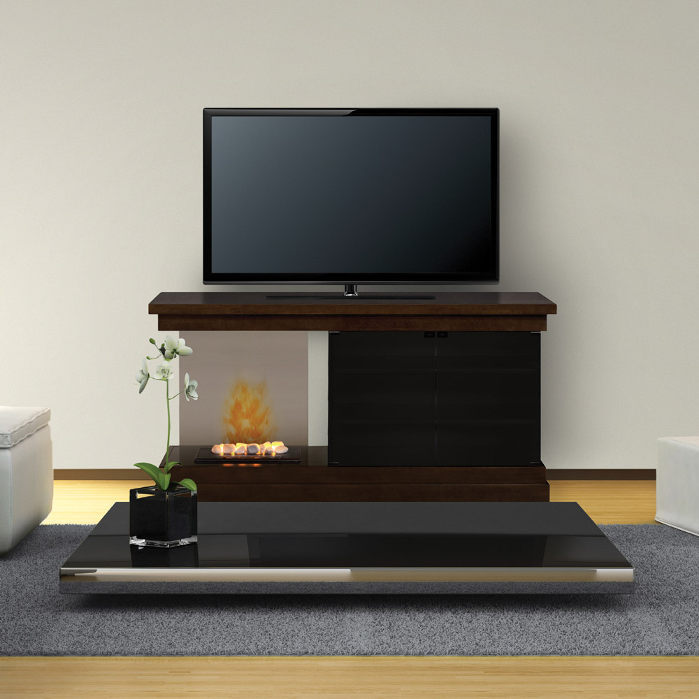 debenham optimyst electric fireplace media console w rocks
