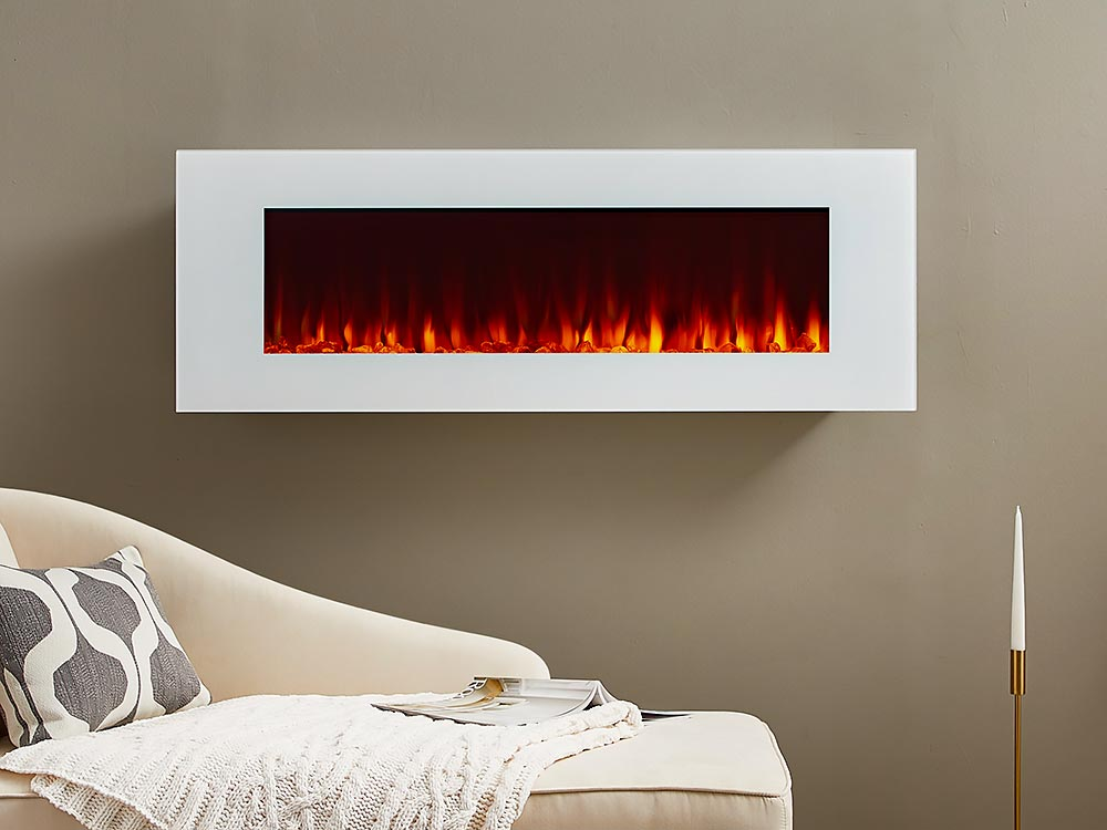 Real Flame 50 Dinatale Wall Mount Electric Fireplace In White