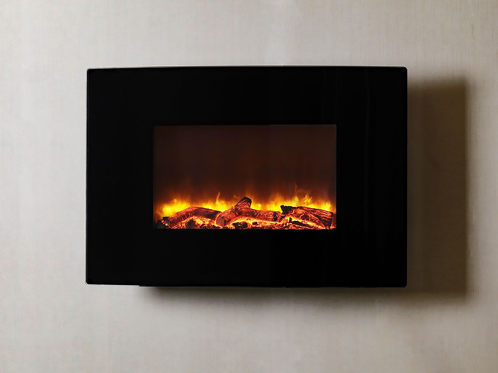 Dynasty 36 Curved Wall Mount Electric Fireplace W Logs Ef67 Cl