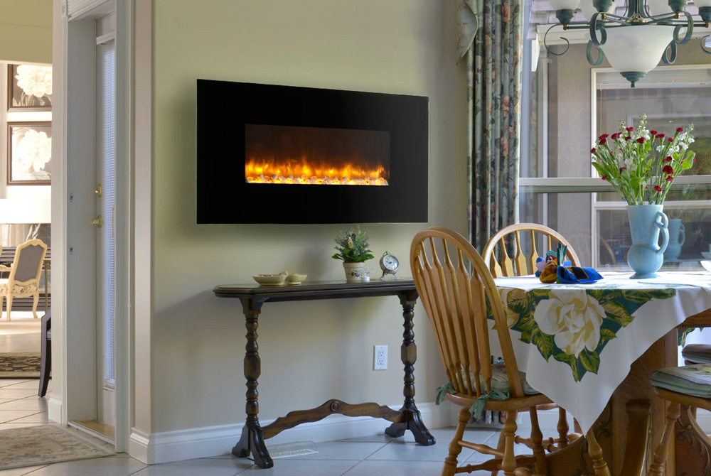 flame p wall elite curved quick inch fireplace black mounted view electric york