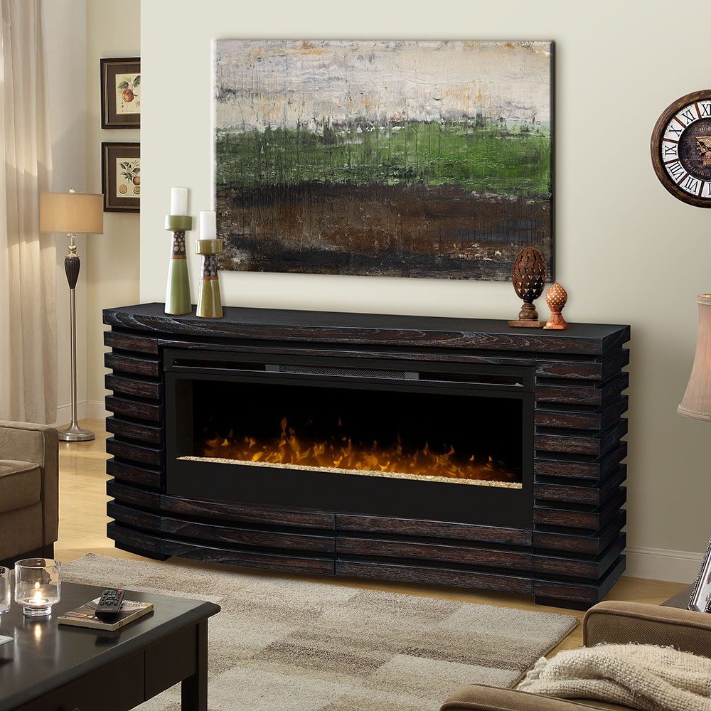 Elliot Electric Fireplace Mantel Package In Hawthorne Brown