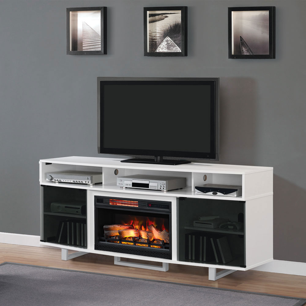 Enterprise Lite Electric Fireplace Entertainment Center In High Gloss White