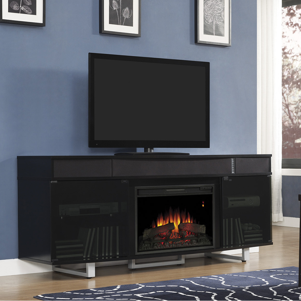 Classic flame belmont 60 quot tv stand with electric fireplace - Enterprise Electric Fireplace Entertainment Center In Black 26mms9616 Nb157