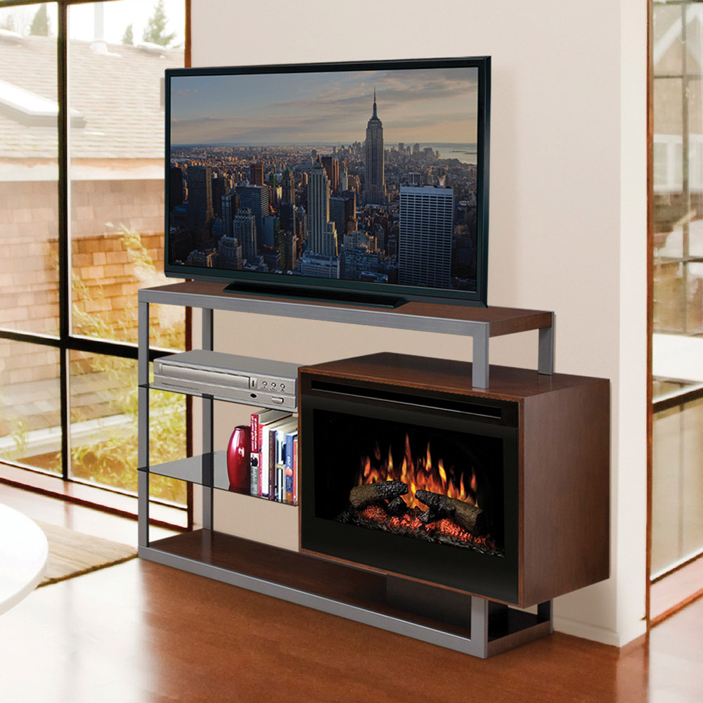 hadley electric fireplace media console in walnut gds251307wn - Electric Fireplace With Mantel