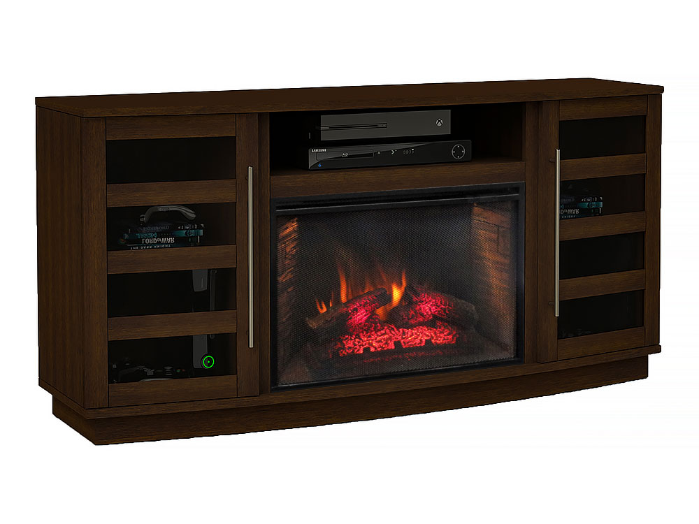harrison infrared electric fireplace tv stand in cherry. Black Bedroom Furniture Sets. Home Design Ideas