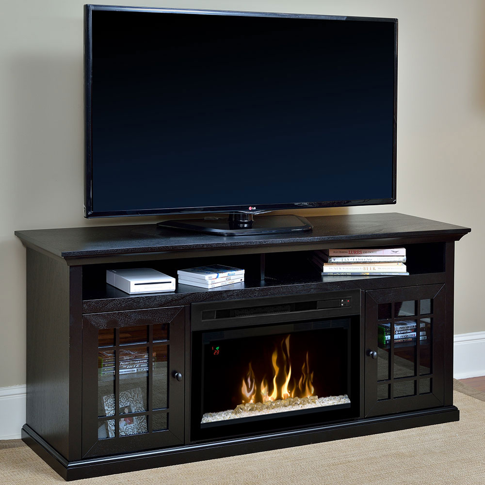 hazelwood electric fireplace media console w glass embers