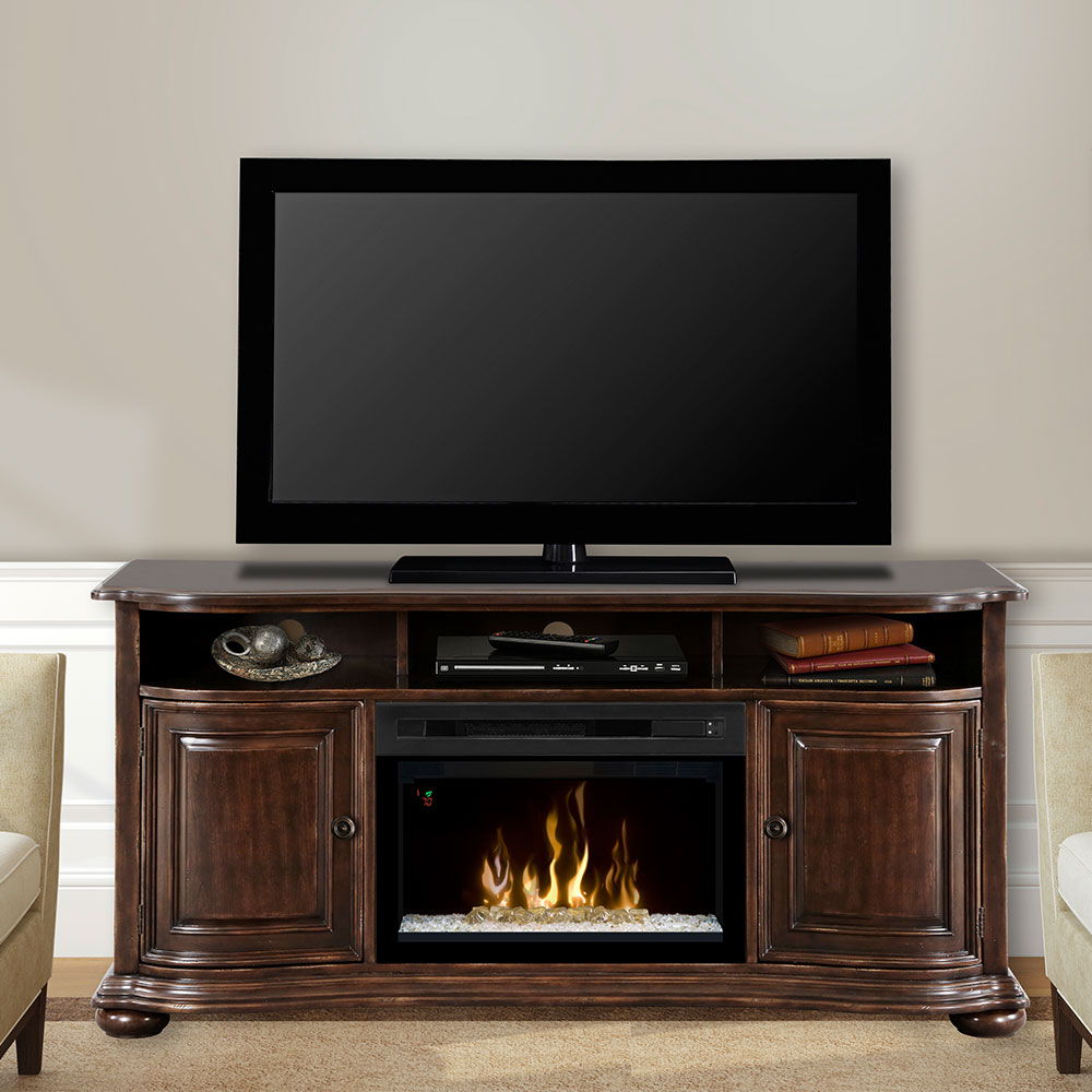 Henderson Distressed Cherry Electric Fireplace Entertainment Center W Glass Gds25gd 1414hc