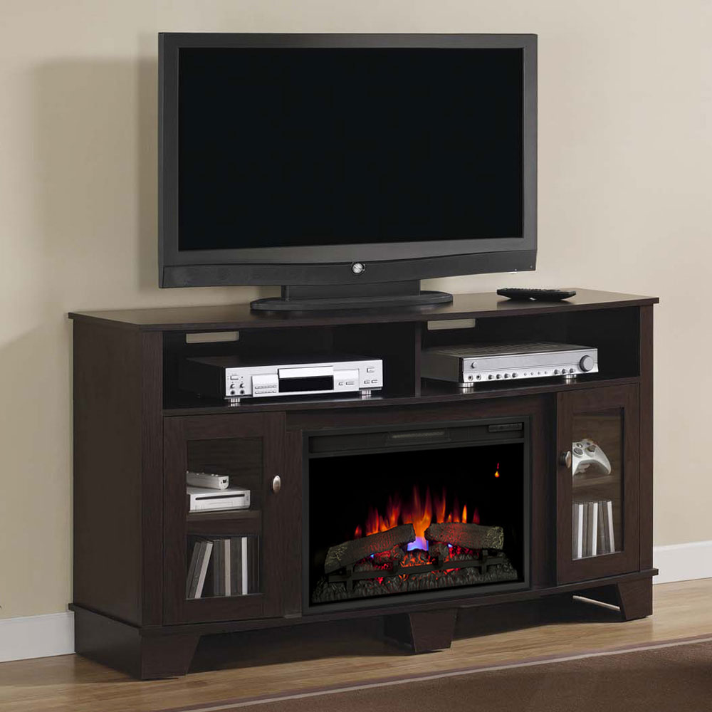 in decorators hill sliding door with console fireplace stand collection tv barn home ivory stands chestnut p electric